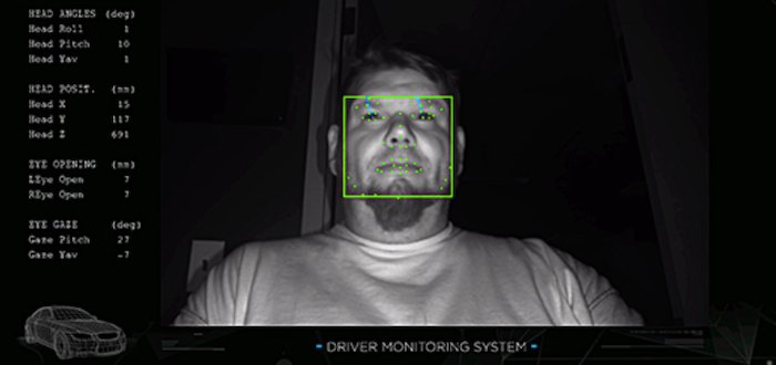 Driver's face being analyzed in DMS