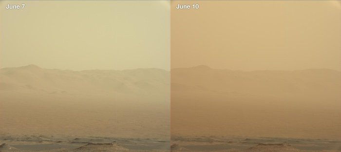 The air before and after a dust storm on Mars.