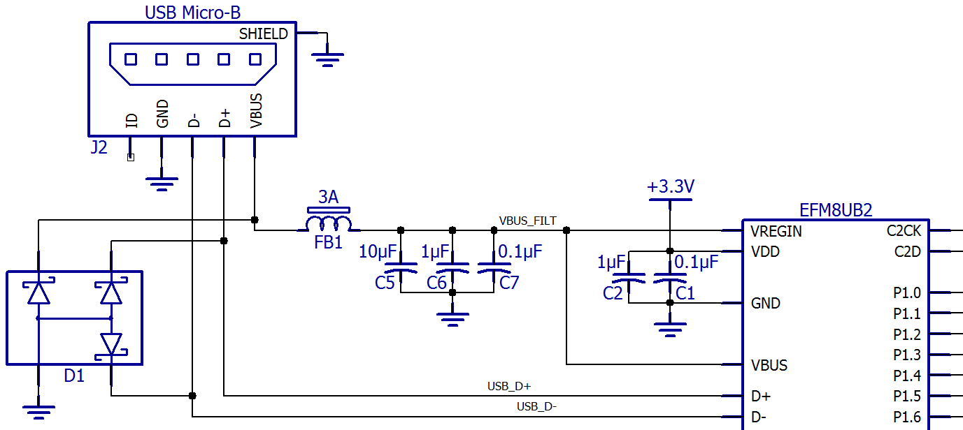 Custom Pcb Design With An Efm8 Microcontroller Usb Pins Diagram Once Upon A Time We Used Rs 232 But Nowadays Makes Much More Sense Universal Bee Devices Among Others Make This Very Simple Everything Except The
