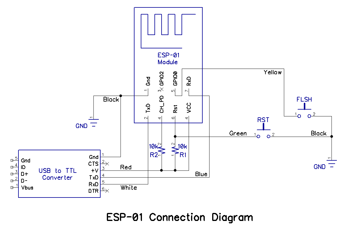 Breadboard And Program An Esp 01 Circuit With The Arduino Ide Male Mini Usb Wiring Color Diagram Between Schematic Photographs You Should Have Most Of Information Needed To Assemble Solderless Setup