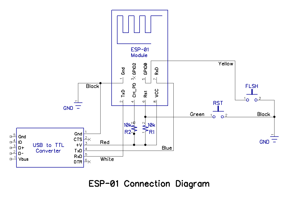 Build A Picaxe Esp 01 Wi Fi Communicator Usb Power Supply Schematic All For The Breadboard Is Supplied Via To Ttl Converter Which Must Be Set 33v In Order Avoid Damaging Module
