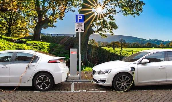 An electric vehicle charging.