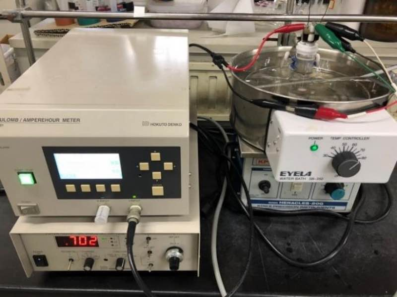 Electrochemical setup for the synthesis of thienoacene derivatives.