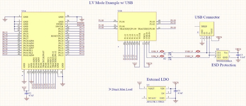 Example of LV mode with USB and external regulator.