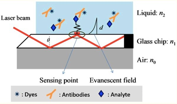 Example of optical sensor detecting antibodies