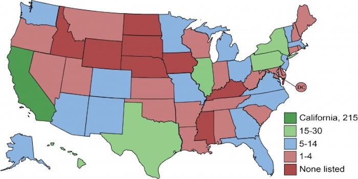 The status of which states have or don't have grid energy storage.