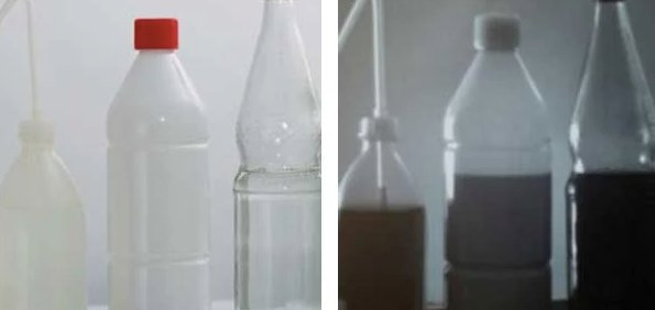 Filled bottles imaged with visible light (left) and SWIR (right)