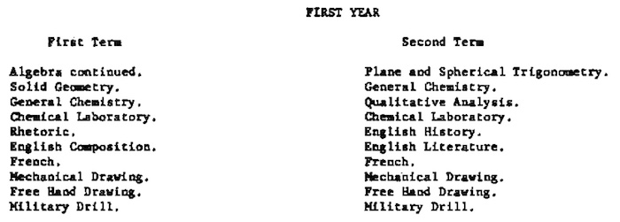 MIT's 1882 EE degree first year curriculum.