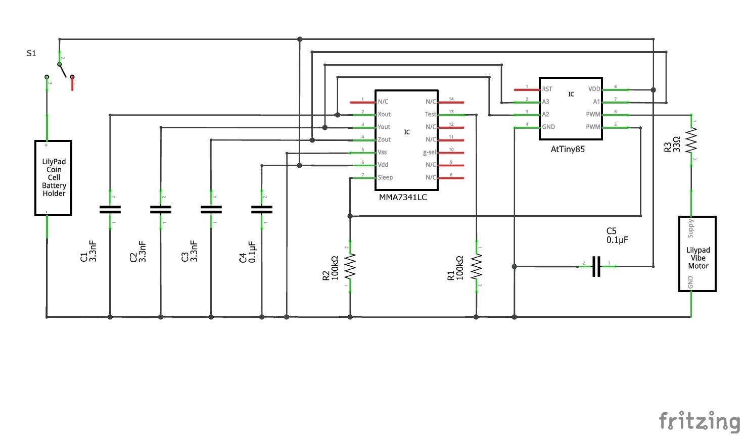 The Fitbyte How To Make An Attiny85 Powered Activity Tracking Wearable Tracker Electrical Wiring Diagrams Everything Can Be Wired Up According Following Diagram