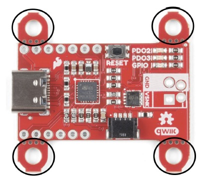 Guide Pin Locations on the SparkFun Power Delivery Board
