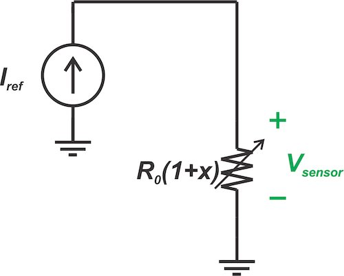 Forcing a fixed current (IRef) through a linear sensor