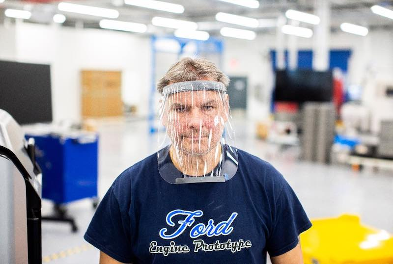 Ford's Dave Jacek wearing a face shield.