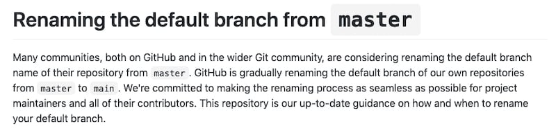 GitHubs announcement to change master to main