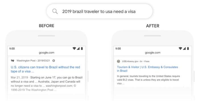 An example of Google's BERT at work.