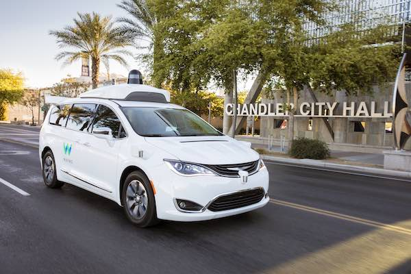 A Google self-driving car with a roof-mounted LiDAR system.. Google has since spun off its self-driving car business Waymo, a subsidiary of Alphabet.