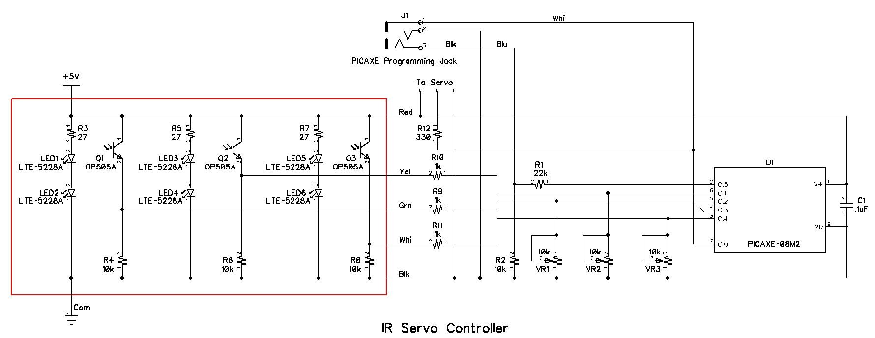 Controlling A Servo With Picaxe And An Ir Sensor Infrared Emitter Detector Schematic The Controller Circuit