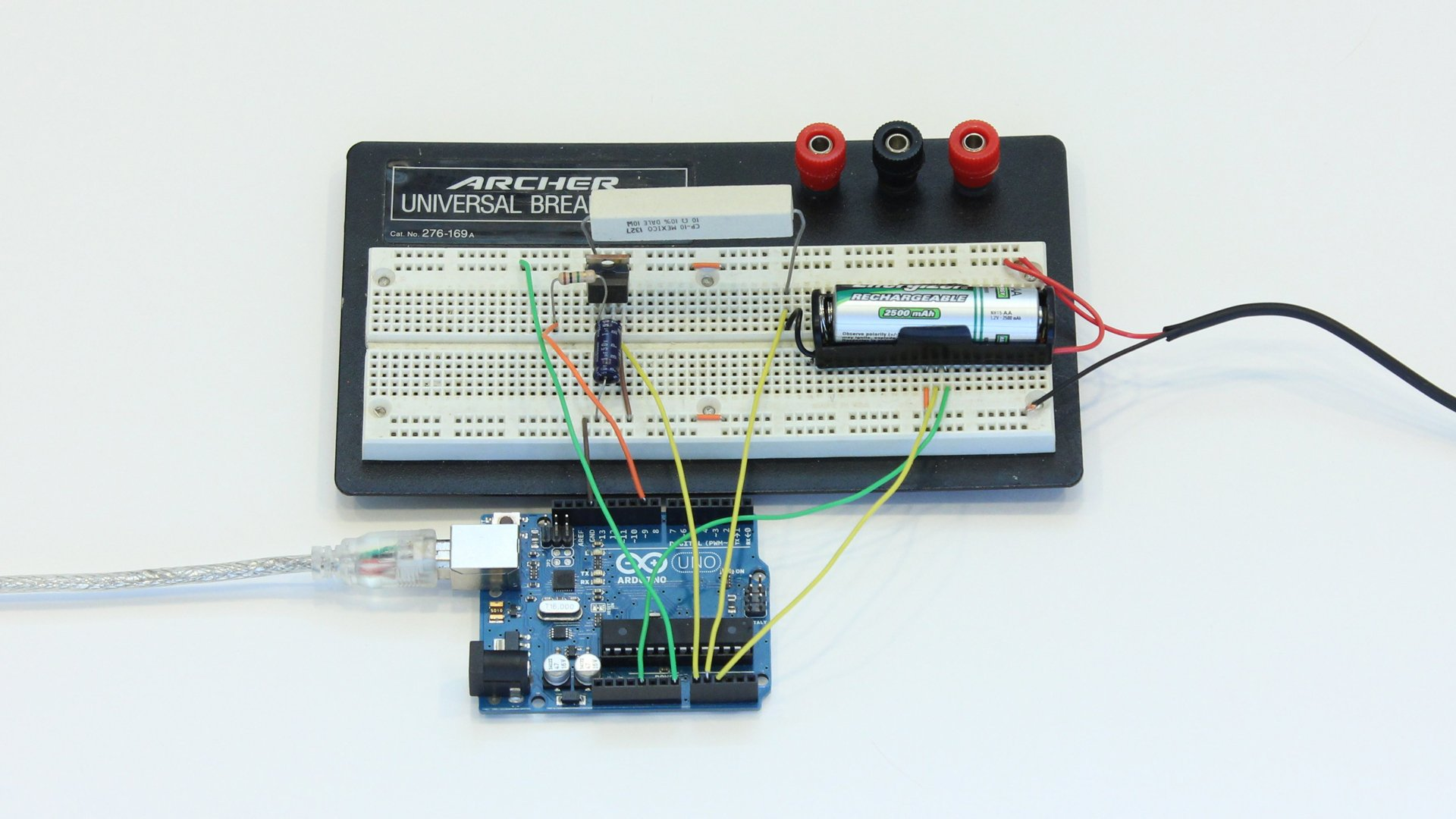 Create An Arduino Controlled Battery Charger Wiring A Working Breadboard From Circuit Diagram Is Easy If You And Attached Charging Can Be Used To Monitor Control The Of Nimh Rechargeable Batteries Heres How