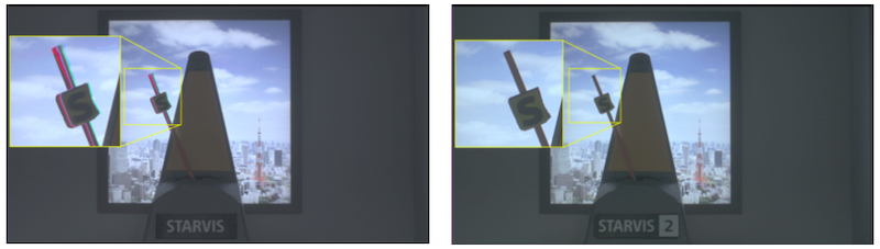 Improvements between STARVIS (left) and STARVIS 2 (right) in artifact suppression