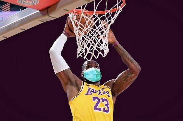 Lebron James wearing a face mask