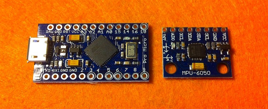 Atmel32u4 microcontroller and the MPU6050 IMU