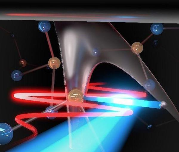 Light emission from the current associated with light-induced electronic tunneling.
