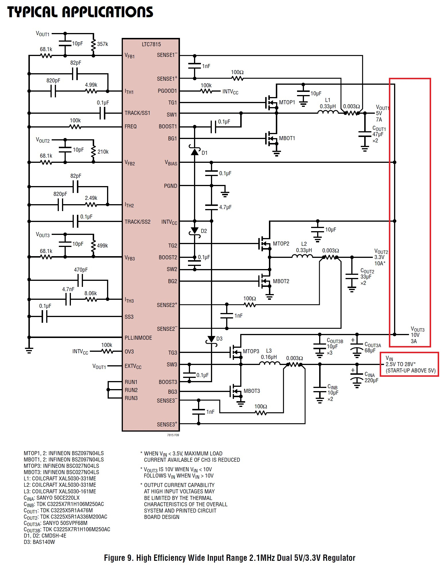 A Triple Output Voltage Controller From Linear Technology Two Bucks Compared To Regulators The Switching Ltc7815 Configured Such That Boost Vout3 Feeds Buck Drawing Taken Datasheet Pdf