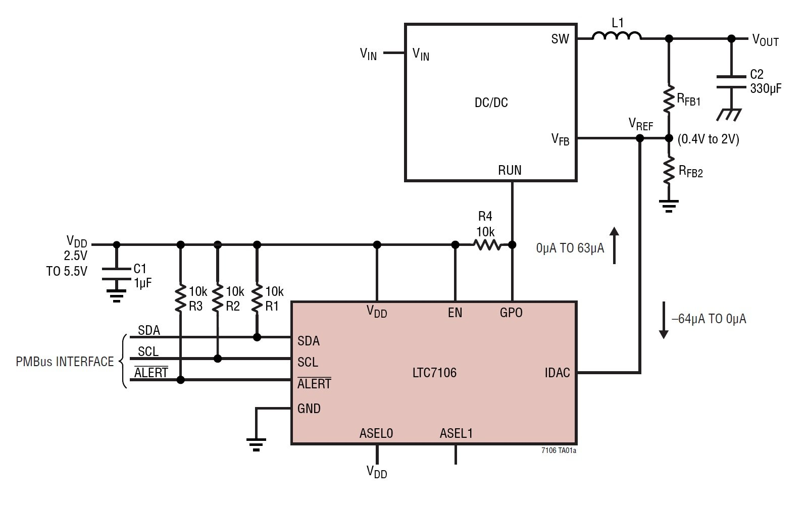 Digitally Adjust Dc To Voltage Regulators A Pmbus Controlled Negative Regulator Circuit Figure 1 Typical Ltc7106 Application Diagram Taken From The Datasheet Pdf