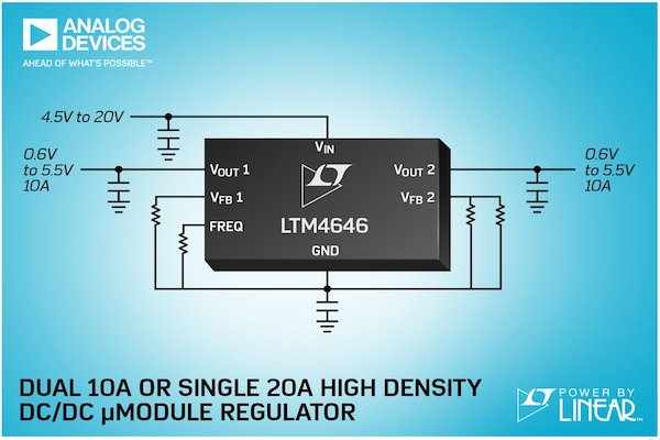 The LTM4646 requires only a few external passive components for operation—the inductors and MOSFETs are included in the module.