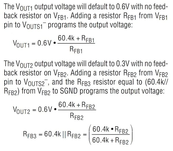 Determining the resistor values for setting VOUT1 and VOUT2 can be determined with these equations.