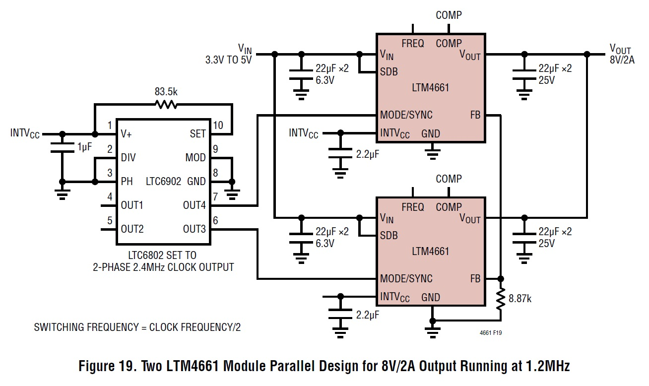 High Efficiencies Small Package An Integrated Boost Step Up Regulator Current Booster If Your Design Requires More Than Whats Available From A Single Ltm4661 Module Then Consider Adding Additional Parallel Ics