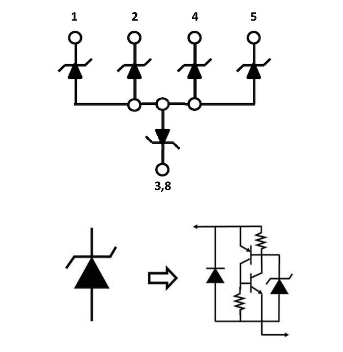 The functional block diagram for the SP3384NUTG TVS diode array from Littelfuse