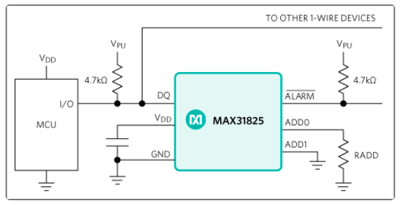 MAX31825 application example