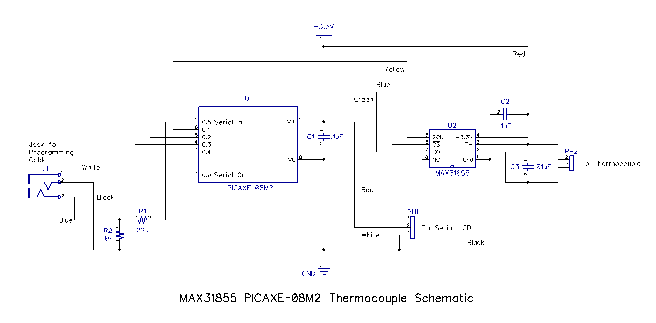 Measure Thermocouple Temperature With The Max31855 And A Picaxe In Fact Only Small Addition This Circuit Is Capable Of You Need Well Filtered Regulated 33vdc Power Source Such As One Pinch Two Alkaline Single Cell Batteries Series Will Also