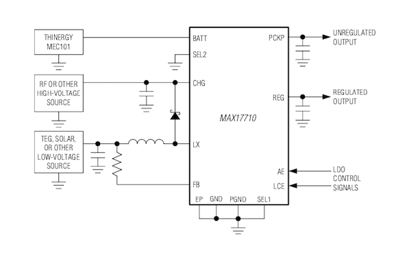 Energy harvesting for charging micro-power storage cells via the Maxim MAX17710.
