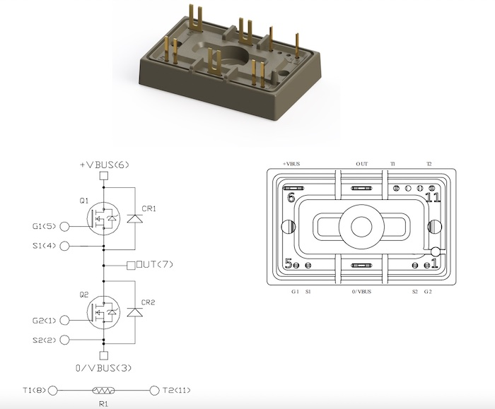 An example overview of the MSCSM120AM31CTBL1NG, a baseless SiC MOSFET module included in the BL1 family.