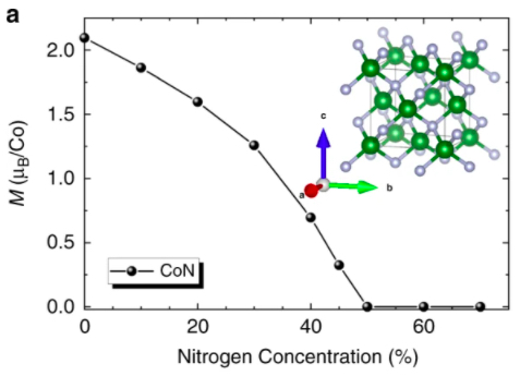 Magnetism in the Co-O and Co-N systems compared to Co-N formation energy
