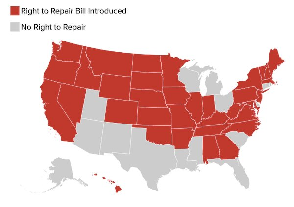 Map of states that have introduced a right-to-repair bill
