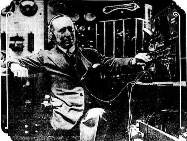 Marconi in his laboratory on Elettra.