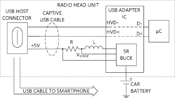 Car USB 5V adapter schematic