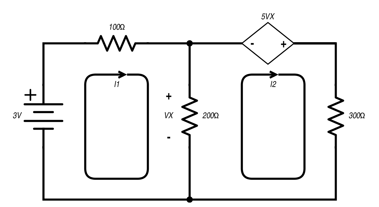 Mesh Analysis And Dependent Sources Circuit Diagram Voltage Source