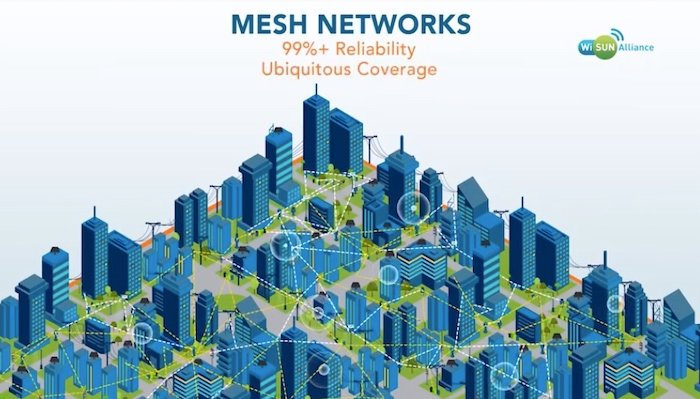Wi-SUN supports wide-spread connectivity through mesh networking