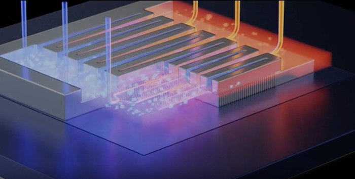 Microfluidic channels are placed very close to the transistor's hot spots, enabling heat to be extracted in exactly the right place for maximum efficiency.