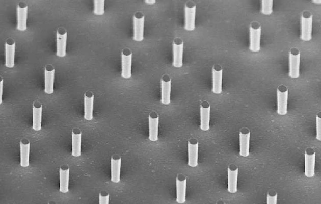 Micrometer silicon columns under electron microscope.