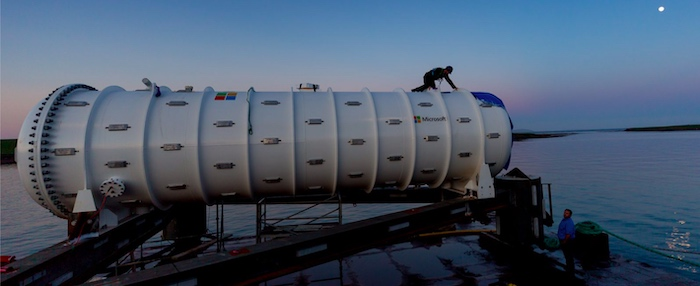 Microsoft's data center being prepared for its deployment to the bottom of the sea