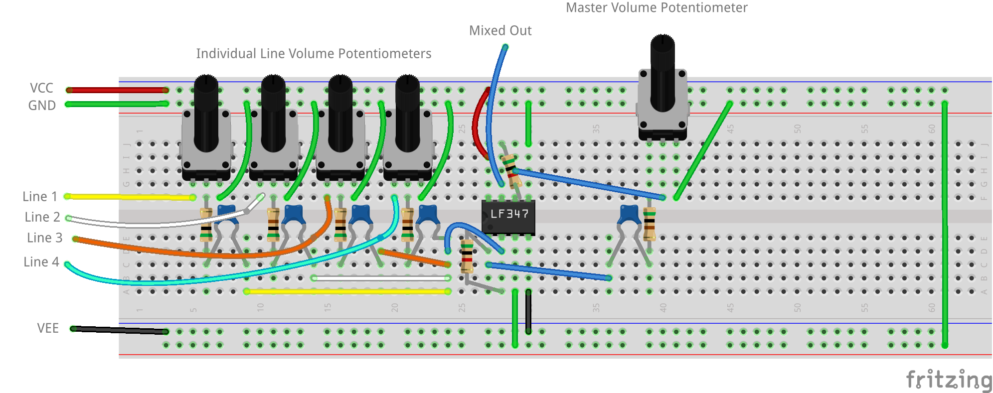 Build An Audio Mixer Mini Project Circuit Diagram