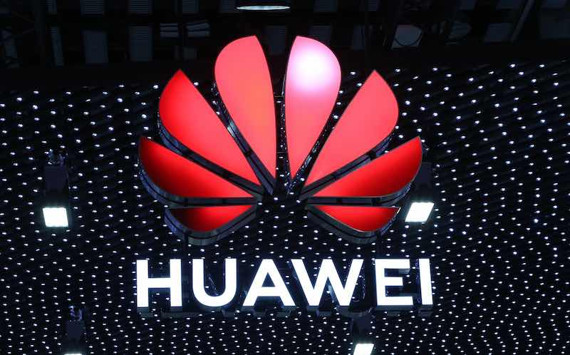 The Huawei logo on display at Mobile World 2019.