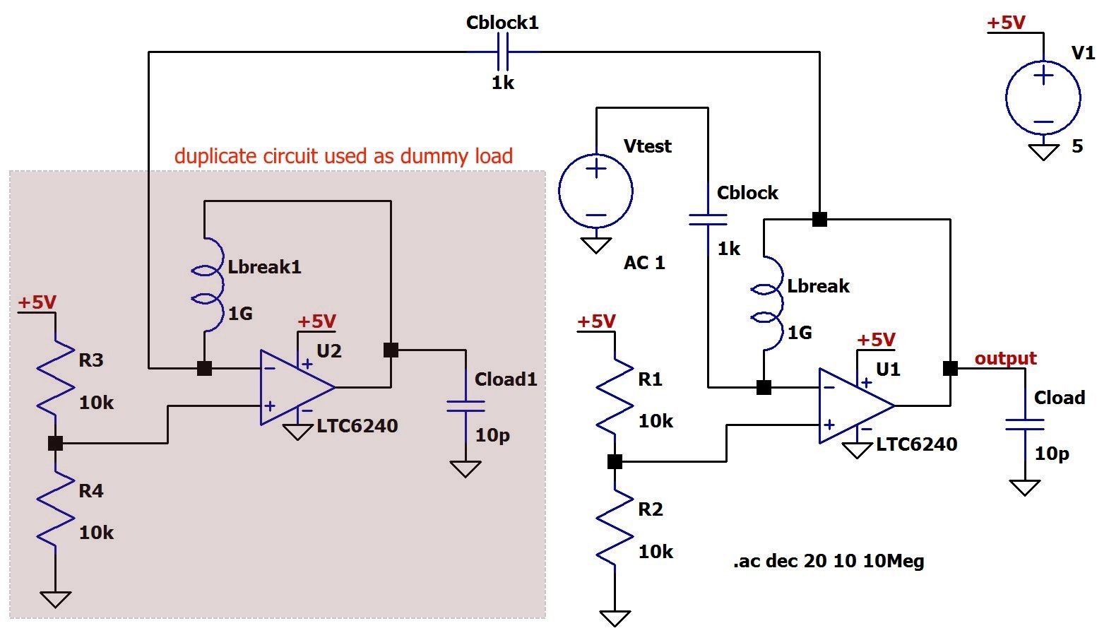 Negative Feedback Part 9 Breaking The Loop Of Op Circuit Is On Impedance Rc Series Diagram As You Can See Original Node Connected To Termination Through Another Large Capacitor In Order Allow Ac Interaction While