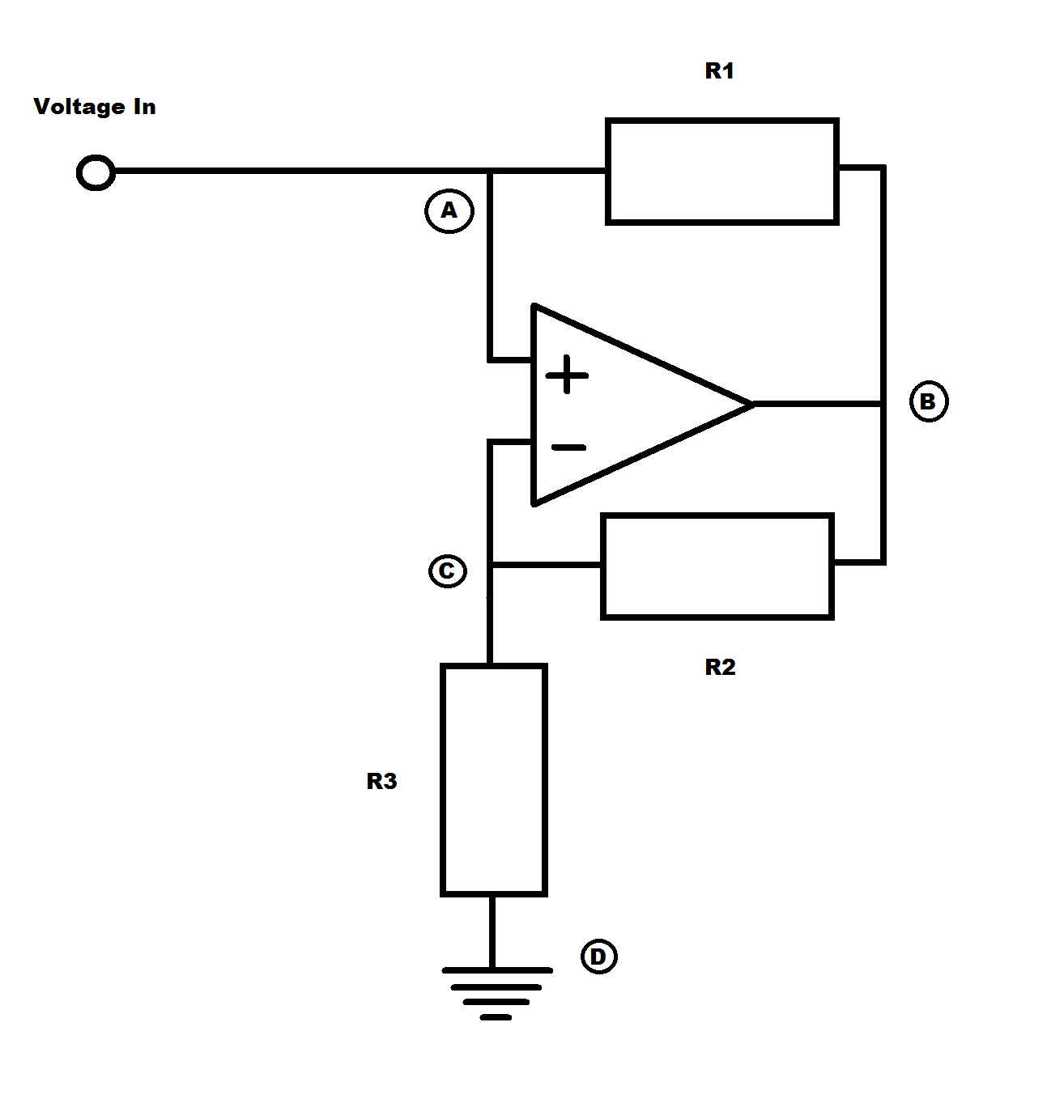 An Introduction To Negative Impedance Converters Simple Currenttovoltage Converter Circuit Diagram Electronic Let Us Define A Current That Is Going The Traditional Route From Voltage Input Down Ground We Will Call First Branch Of I1