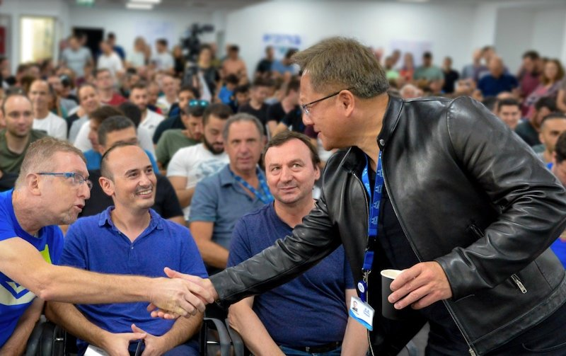 NVIDIA CEO Jensen Huang greets the new employees from Mellanox.