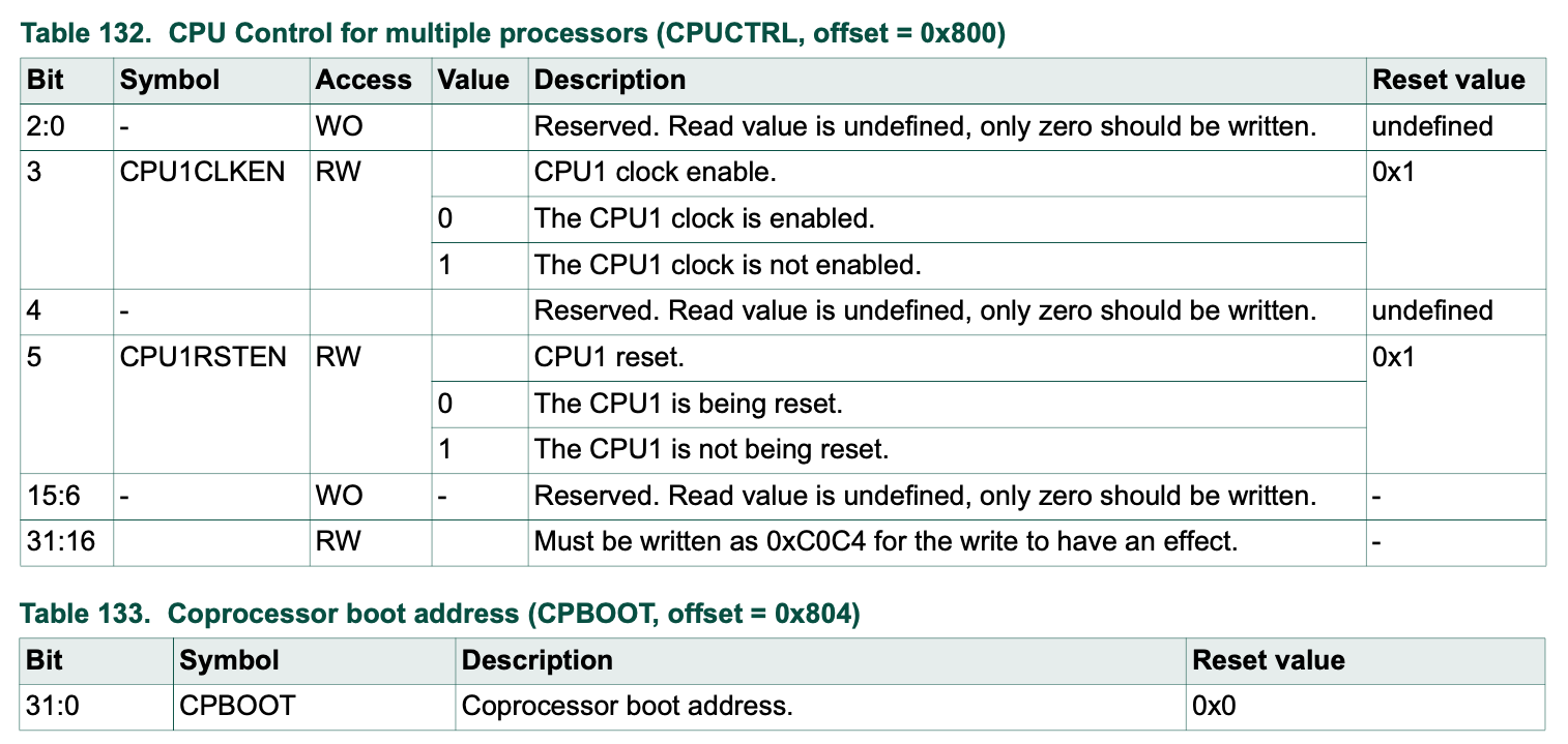 CPU enable and boot registers.